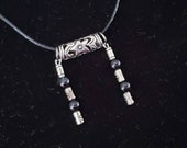 Black Banded Agate and Tibetan Silver Necklace