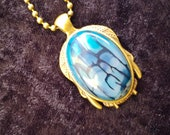 Blue Dragon Veins Agate Necklace