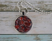 Red Millefiori Glass in Resin, Necklace