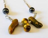 Ocean Jasper, Hematite, Tibetan Silver Necklace