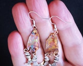 Flame Painted Copper and Tibetan Silver Mermaid Earrings. Sterling Silver Ear Wires.