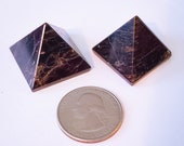 Two Bronze Iolite Pyramids