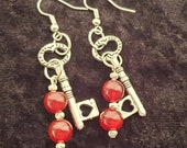 Key To Your Heart Earrings, Genuine Ruby and Sterling Silver Beads