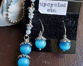 Mexican Blue Opal , Blue Lace Agate and Sterling Silver, Necklace and Ear Ring Set, new price!