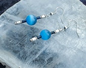 Mexican Blue Opal Gemstone Earrings