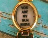 You Are My Sunshine Charm and Vintage Watch Face Necklace