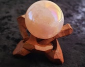 Angel Aura Rose Quartz Sphere with Wooden Stand