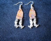 Flame Painted Copper and Mermaid Earrings
