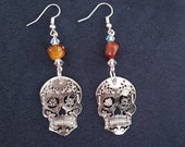 Mexican Fire Opal and Skull Jewelry Earrings