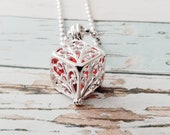 Silver Cage Locket Necklace