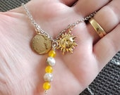 Charm Necklace, Fire Agate Beads, Yellow Jade Beads, Sun and Moon Charms, new price.