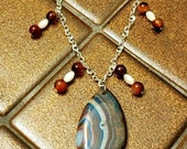 Dragon Vein Agate, Ruby, Mother of Pearl Necklace
