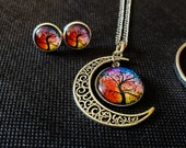 Moonflower Tree Necklace and Earrings Set