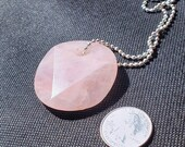 Rose Quartz Faceted Disk Necklace