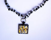 Quartz,Hematite, and Blackstone Beads and Mosaic Tile Pendant