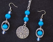 Mexican Blue Opal, Clear Quartz, Necklace and Earrings. Sterling Silver