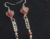 Red Lampwork Glass Hearts with Love Letters
