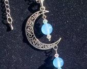 Genuine Amethyst, Tibetan Silver Moon