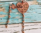 Copper Heart with Key Necklace