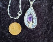 Sterling Silver Plated Geode and Amethyst Crystal Point