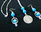 Mexican Blue Opal, Clear Quartz, Sterling Silver Necklace and Earrings