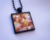 Handmade iridescent mosaic tile necklace