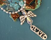 Angel, angel wings pendant, and LOVE charm, Swarovski Crystal necklace