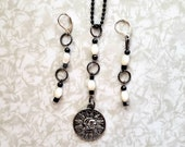 Jewelry Set, Necklace and Earrings, Tibetan Silver Celestial Astrology Charm, Hematite Beads, Mother of Pearl Beads, new price.