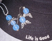 Necklace and Ear Rings, Aquamarine, Sterling Silver
