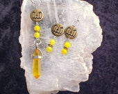 Custom Rock Crystal point necklace and earrings.