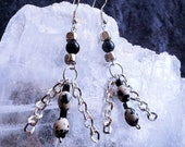 Dalmatian Jasper and Black Agate Earrings.