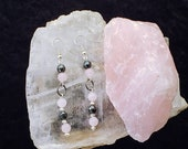 Earrings and Rose Quartz Stone