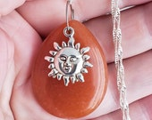 Genuine Sunstone Necklace with Sun Charm