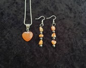 Red Agate Heart Necklace, Mexican Fire Opal Earrings