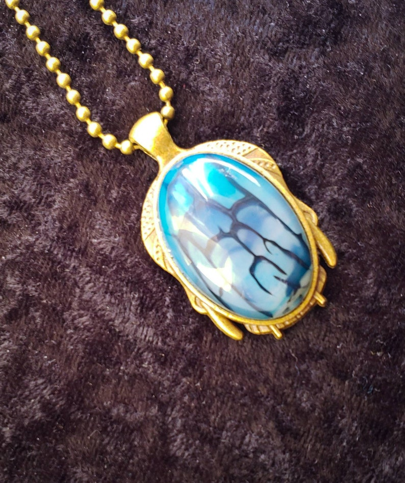 Blue Dragon Veins Agate Necklace image 0