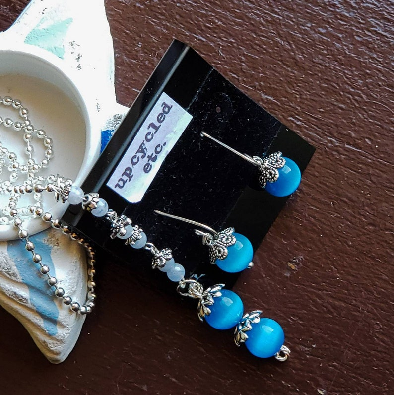 Mexican Blue Opal  Blue Lace Agate Jewelry Set image 0