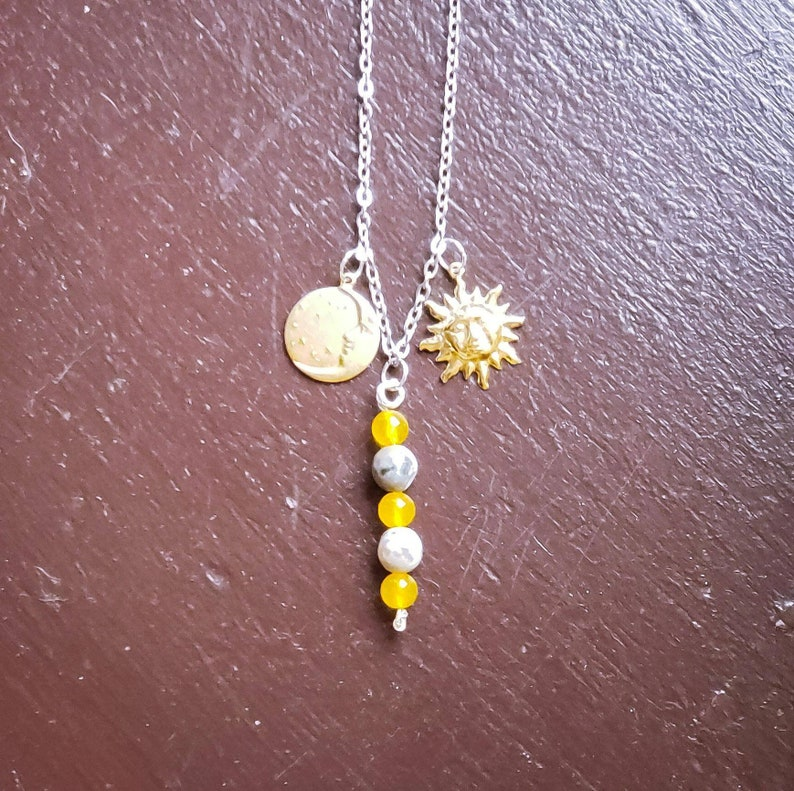 Charm Necklace with Fire Agate Beads Sun and Moon Charms image 0