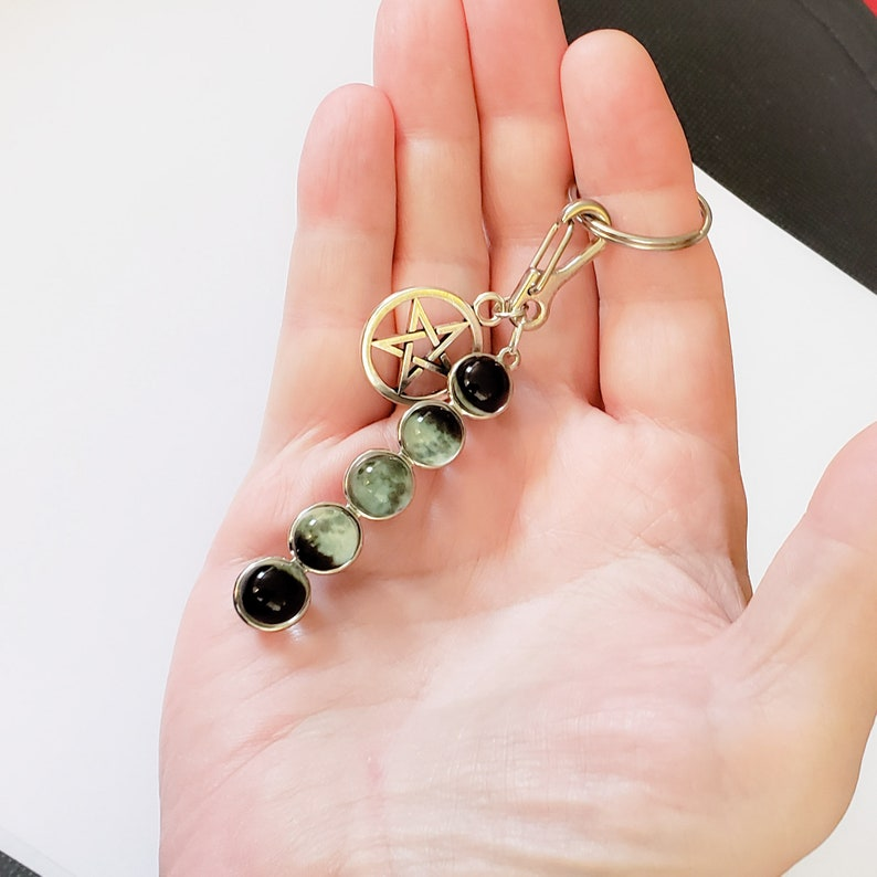 Moon Phase and Pentagram Charm Key Chain image 0