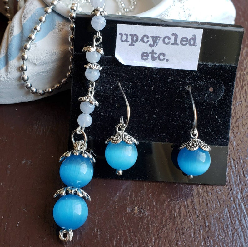 Mexican Blue Opal  Blue Lace Agate and Sterling Silver image 0