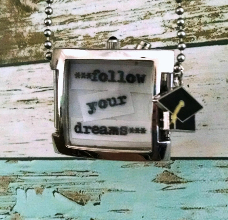 Follow Your Dreams Vintage Watch Face Graduation Necklace image 0