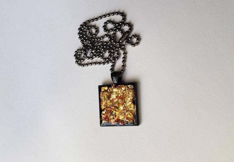 Gold Leaf Flake in Resin Pendant Necklace image 0
