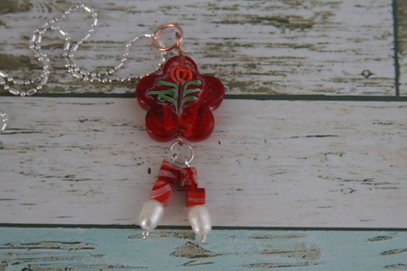 Vintage Hand Painted Lamp Work Glass Pendant Necklace with image 0