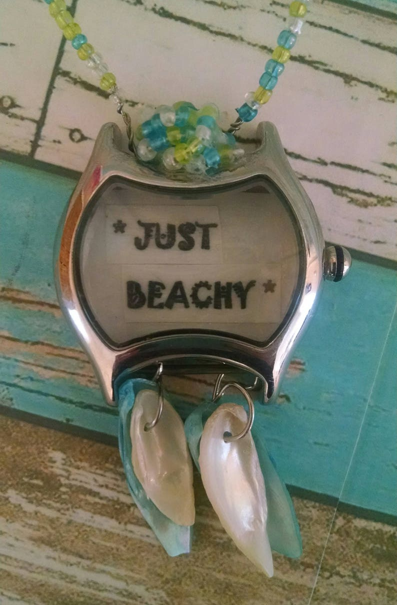 Recycled Watch Jewelry Necklace Upcycled Design Beachy Sea image 0