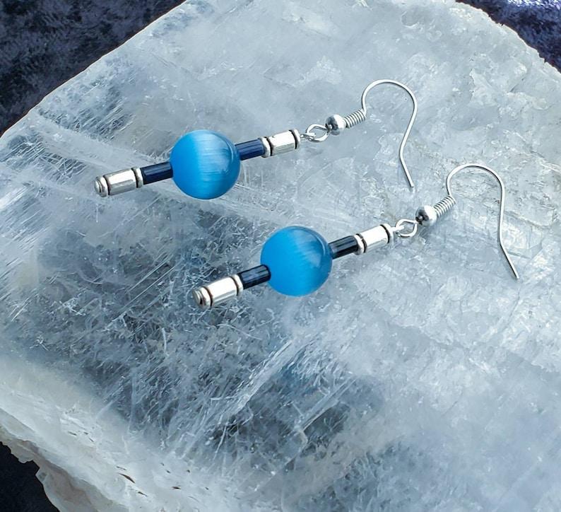 Mexican Blue Opal Gemstone Earrings image 0