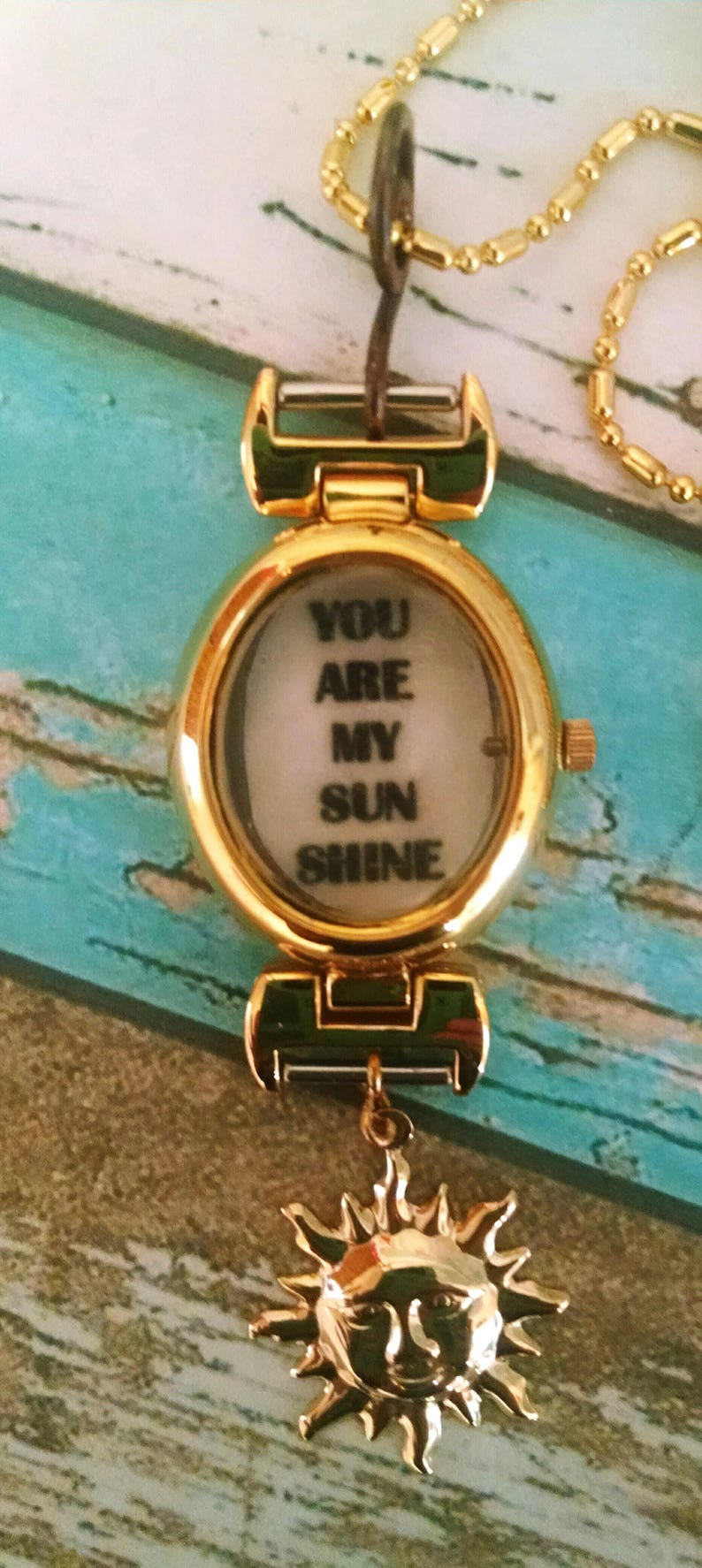 You Are My Sunshine Charm and Vintage Watch Face Necklace image 0