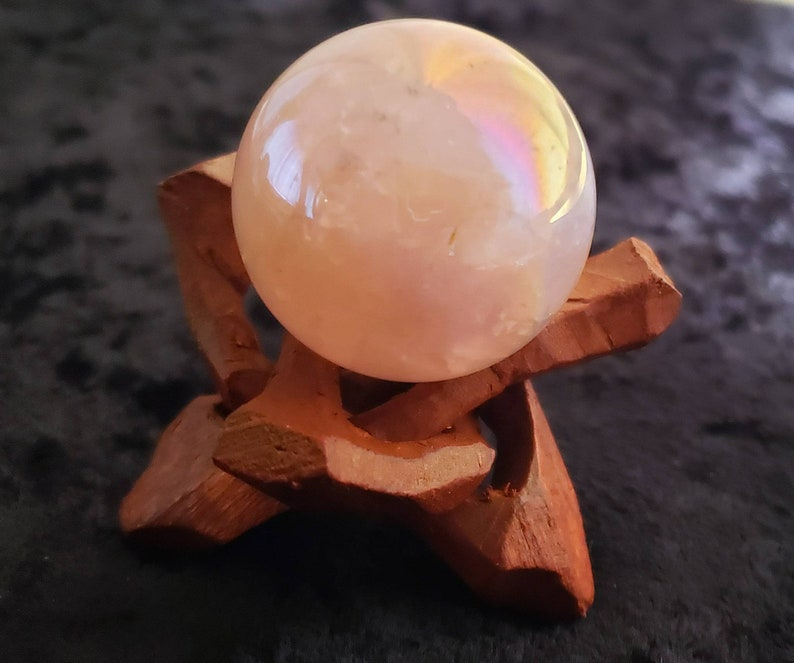 Angel Aura Rose Quartz Sphere with Wooden Stand image 0