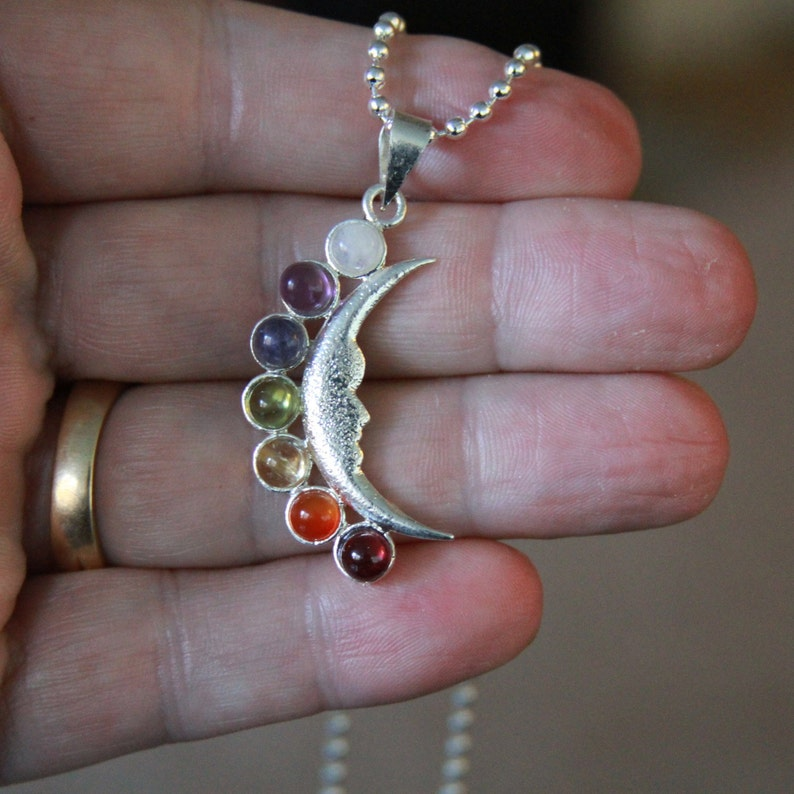 Smiling Moon Silver Alloy Chakra Necklace New price. image 0