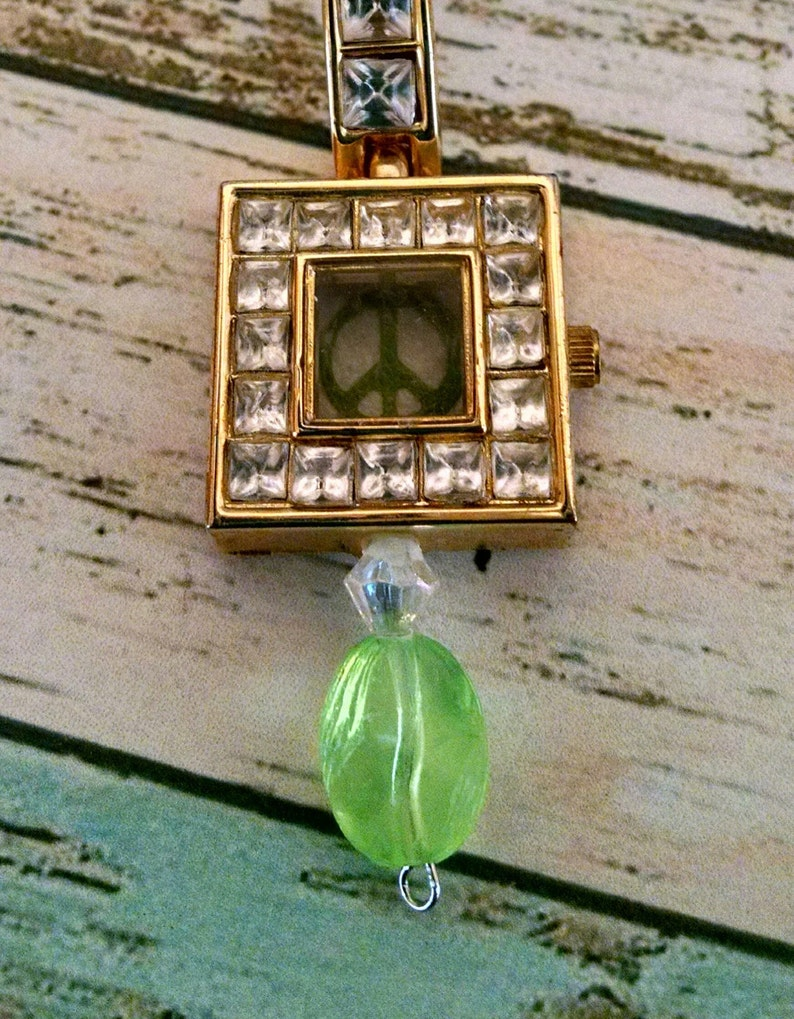 Watch Necklace Pendant gold watch face Rhinestone and Peace image 0