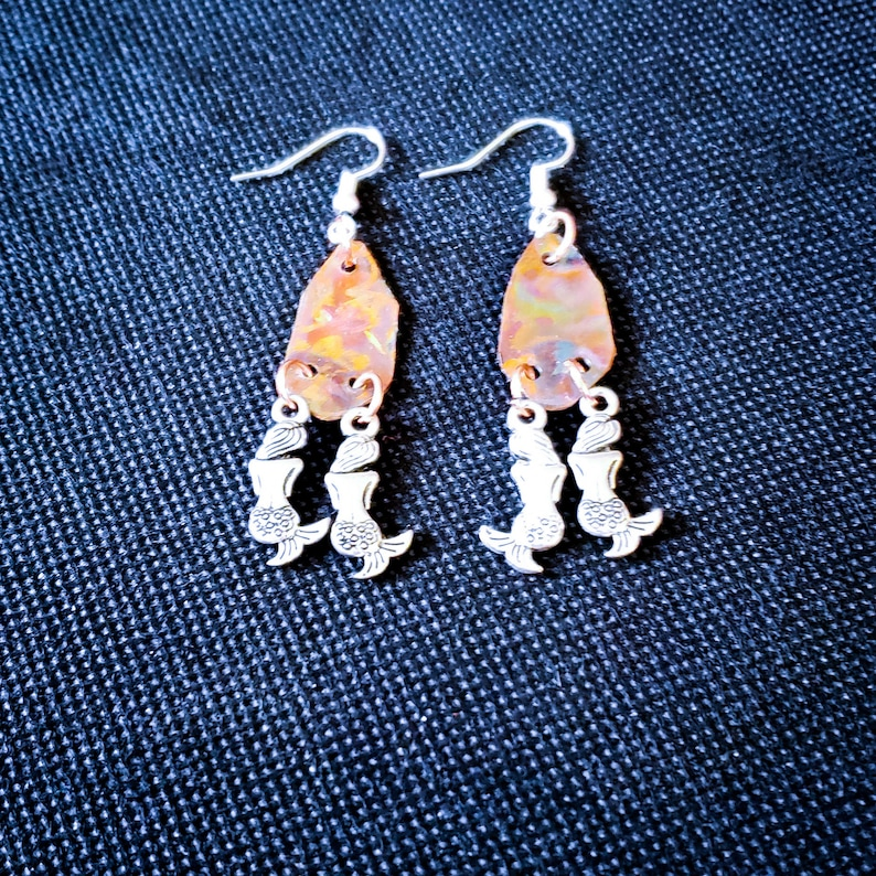 Flame Painted Copper and Mermaid Earrings image 0