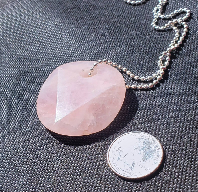 Rose Quartz Faceted Disk Necklace image 0